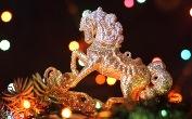 Символ 2014 года - деревянная синяя Лошадь ЛЬВОВ НОВОГОДНИЕ УЗОРЫ Новый Год Рождество Христово Клуб Мандривныкив